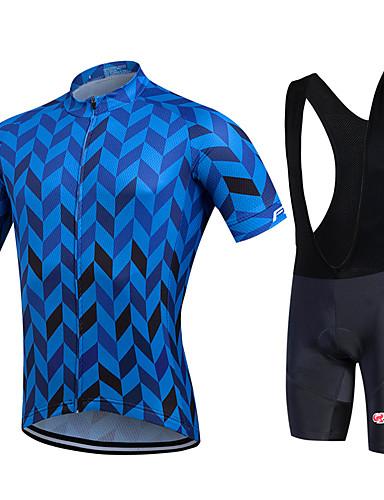 cheap Cycling Clothing-Fastcute Men's Short Sleeve Cycling Jersey with Bib Shorts - Black Plus Size Bike Bib Shorts Jersey Bib Tights Breathable 3D Pad Quick Dry Sweat-wicking Sports Polyester Lycra Herringbone Mountain