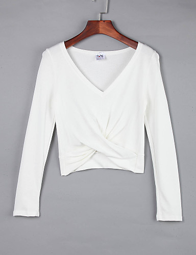 Vrouwen Eenvoudig Herfst T-shirt,Casual/Dagelijks Effen V-hals Mouwloos Wit / Beige / Zwart / Grijs Katoen Medium