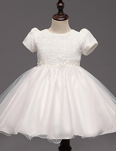 Vestido de baile vestido de flor com joelho vestido - organza mangas curtas jóia pescoço com arco por ydn