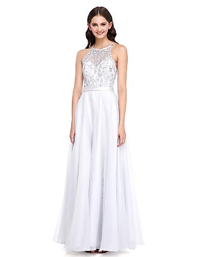 Corte en A Joya Hasta el Suelo Organza Vestido de Dama de Honor con Cuentas / Apliques / Cinta / Lazo por LAN TING BRIDE®