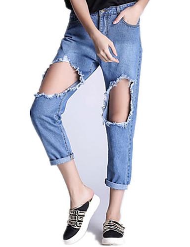 Damer Gade Mikroelastisk Jeans Bukser,Alm. taljede Ensfarvet