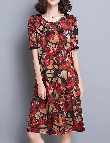 Dame Sofistikerede I-byen-tøj Plusstørrelser Løstsiddende Kjole Blomstret,Rund hals Knælang Kortærmet Rød Grøn Gul Rayon SommerAlm.