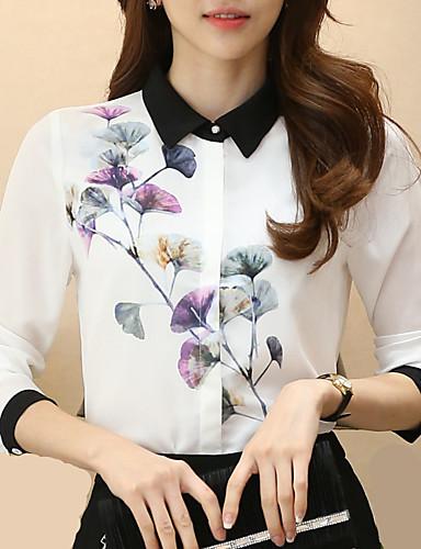 Feminino Camisa Social Trabalho Tamanhos Grandes Todas as Estações,Floral Poliéster Colarinho de Camisa Manga Longa Fina