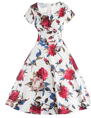 Mulheres Evasê Vestido Floral Decote Quadrado