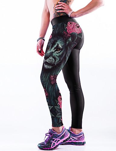 Dame Trykt mønster Legging - Helfarve, Trykt mønster Medium Talje