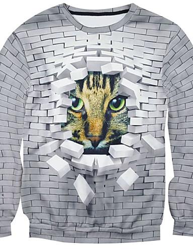 Heren Casual/Dagelijks Sweatshirt 3D Print Katoen Polyester Lange mouw Lente Herfst Winter