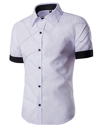 Klassisk krave Herre - Farveblok Bomuld Afslappet Skjorte Sort / Kortærmet / Sommer