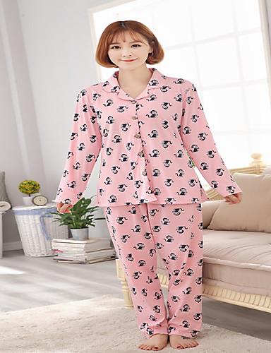Damen Pyjamas Baumwolle Dick Rosa