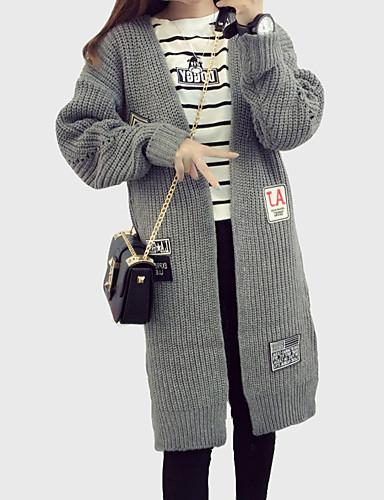 Dame Simpel / Street I-byen-tøj / Casual/hverdag Lang Cardigan Ensfarvet / Trykt mønster,Grå V-hals Langærmet Akryl / PolyesterEfterår /