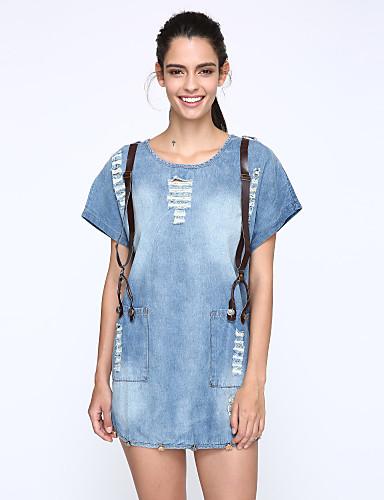 여성 루즈핏 드레스 캐쥬얼/데일리 플러스 사이즈 스트리트 쉬크 솔리드,라운드 넥 무릎 위 짧은 소매 면 여름 중간 밑위 약간의 신축성