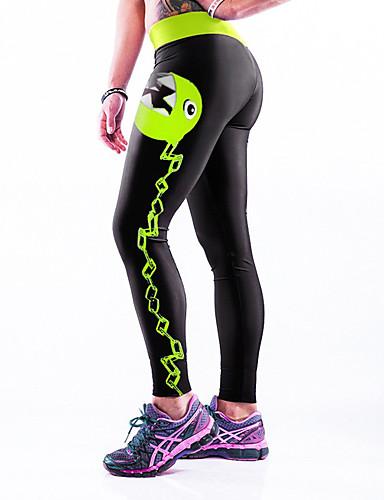 Dames Kleurenblok Polyester Medium Kruiselings bewerkt Legging,Zwart