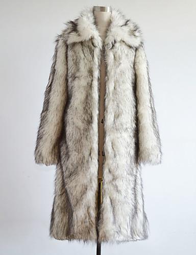 voordelige Uitverkoop-Heren Grote maten / Weekend Winter Lang Jas, Kleurenblok Lange mouw Imitatiebont Wit / Slank