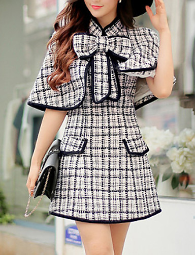Bayanlar Splandeks / Polyester / Akrilik Diz üstü Kolsuz Yuvarlak Yaka Cepler Bayanlar Elbise