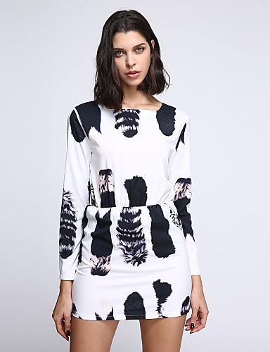 Women's Work Street chic Loose Dress Split Print Mini Square Neck
