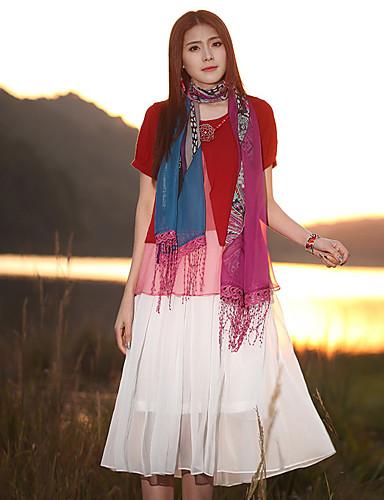 Damer Vintage I-byen-tøj Løstsiddende Kjole Trykt mønster,Rund hals Midi Kortærmet Polyester Forår Efterår Alm. taljede Uelastisk Tynd