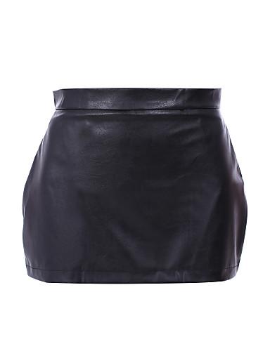 Damen Sexy Alltag Mini Röcke A-Linie, PU Solide Frühling