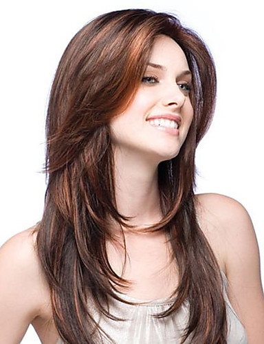 cheap Human Hair Wigs-Virgin Human Hair Full Lace Lace Front Wig Layered Haircut Middle Part Free Part style Brazilian Hair Straight Wig 130% 150% Density with Baby Hair African American Wig Glueless Bleached Knots Women's