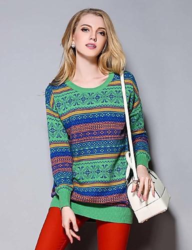 sybel kvinders afslappet / daglig simpel regelmæssig pulloverprint grøn