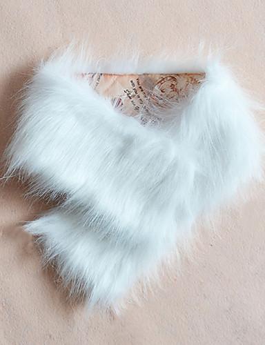 Damer Fest / Kontor / Casual Imiteret pels Halstørklæde-Ensfarvet Uendelighedshalstørklæde Sort / Hvid / Brun / Beige