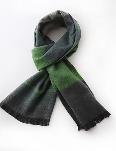Unisex Vintage / Casual Silke / Uld Halstørklæde-Patchwork Rektangulær Grøn