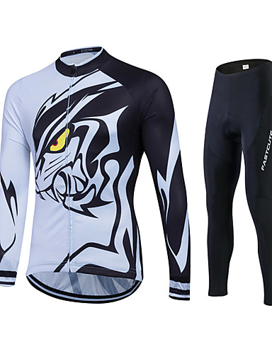 cheap Cycling Clothing-Fastcute Men's Long Sleeve Cycling Jersey with Tights Black Lion Plus Size Bike Jersey Tights Clothing Suit Breathable 3D Pad Quick Dry Sweat-wicking Sports Polyester Lycra Lion Mountain Bike MTB