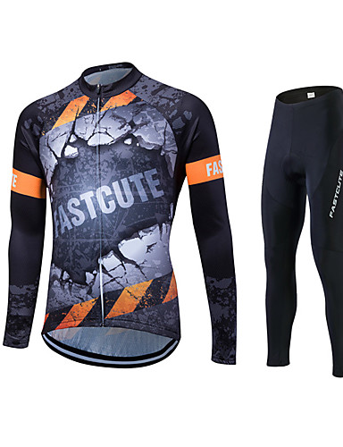 cheap Cycling Clothing-Fastcute Men's Long Sleeve Cycling Jersey with Tights - Black Plus Size Bike Jersey Tights Clothing Suit Breathable 3D Pad Quick Dry Sweat-wicking Sports Polyester Lycra Graffiti Mountain Bike MTB