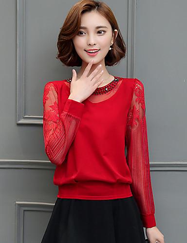 billige Topper til damer-Bluse Dame - Ensfarget Rød