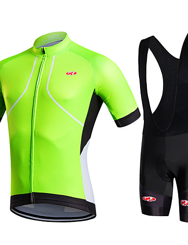 cheap Cycling Clothing-Fastcute Men's Short Sleeve Cycling Jersey with Bib Shorts - Green Solid Color Bike Shorts Bib Shorts Jacket Breathable 3D Pad Quick Dry Sweat-wicking Sports Polyester Silicon Solid Color Mountain