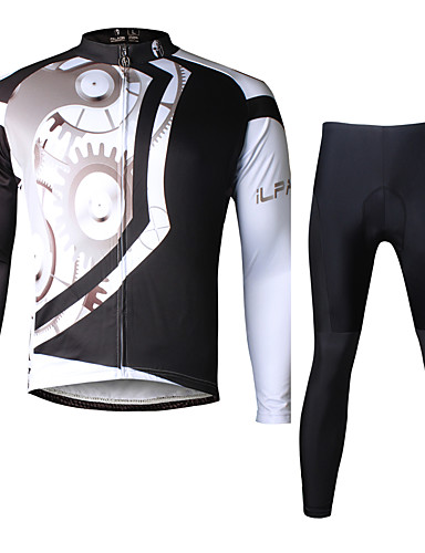 cheap Cycling Clothing-ILPALADINO Men's Long Sleeve Cycling Jersey with Tights Black Bike Clothing Suit Breathable 3D Pad Quick Dry Ultraviolet Resistant Reflective Strips Sports Lycra Gear Mountain Bike MTB Road Bike