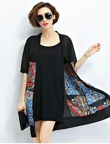 Vrouwen Vintage Zomer Cloak / Capes,Uitgaan Opstaand-Korte mouw Zwart Print / Patchwork Medium Polyester