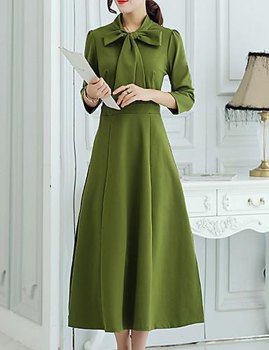 Dame Simpel Gade Sofistikerede I-byen-tøj Afslappet/Hverdag Ferie Skede Kjole Ensfarvet,Krave Midi Langærmet Sort Grøn BomuldSommer