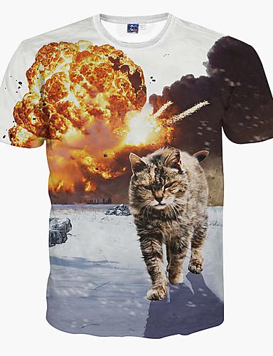 Hombre Deportes Estampado Camiseta Delgado Animal Gato / Manga Corta