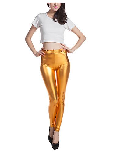 Feminino Sólido Média Poliéster PU Legging,Dourado