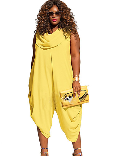 7441bee44df Women's Plus Size Cowl Black Yellow Red Jumpsuit, Solid Colored XXXL XXXXL  XXXXXL Sleeveless Summer