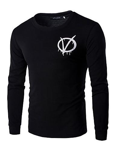 Heren Eenvoudig Lente / Herfst T-shirt,Casual/Dagelijks Effen / Print Ronde hals Lange mouw Zwart Katoen Medium