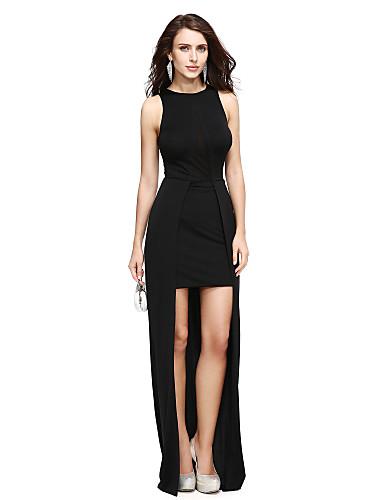 Tubinho Decorado com Bijuteria Assimétrico Microfibra Jersey Baile de Formatura Evento Formal Vestido com Fenda Frontal de TS Couture®