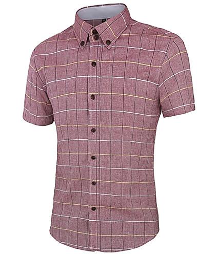 Heren Eenvoudig Zomer Overhemd,Casual/Dagelijks Gestreept Overhemdkraag Korte mouw Blauw / Wit / Grijs Katoen Medium