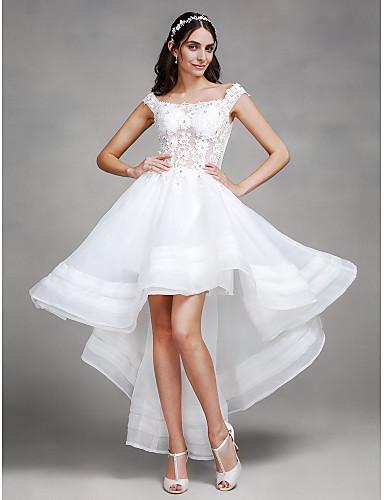 А-силуэт Асимметричное Органза Свадебное платье с Бусины Кружева от Amgam
