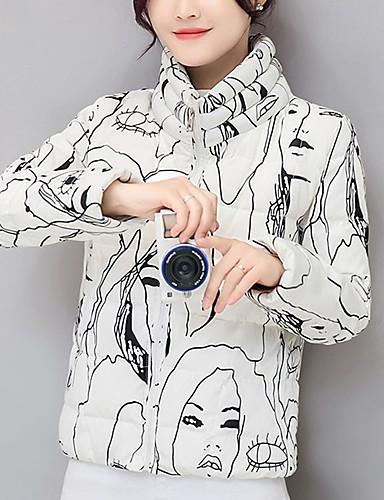 Naiset Pitkähihainen Lyhyt Padded Takki Yksinkertainen Katutyyli Bile Rento/arki Painettu-Polyesteri Polyesteri Stand-kaula-aukko