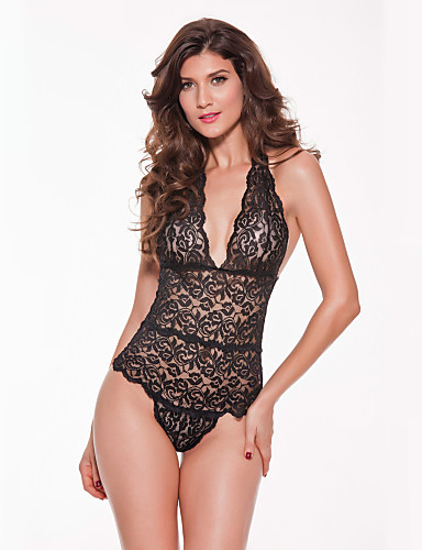 Women s Lace Plus Size Ultra Sexy Nightwear - Mesh Solid Colored 59208e54f