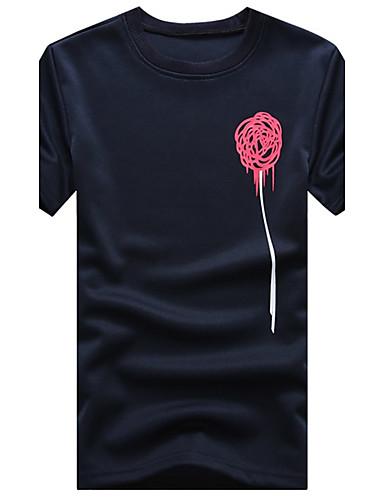 男性用 プラスサイズ Tシャツ ラウンドネック パッチワーク コットン