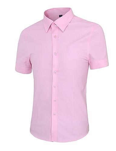 Masculino Camisa Casual Simples Verão,Sólido Azul / Rosa / Vermelho / Branco / Preto Algodão Colarinho de Camisa Manga Curta Média
