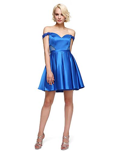 A-line Off-the-Schulter kurz / Mini Stretch Satin Cocktail Party Heimkehr Abschlussball Kleid mit Perlen von ts Couture ®