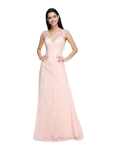Sheath / Column V Neck Floor Length Lace Bridesmaid Dress with Buttons by LAN TING BRIDE®