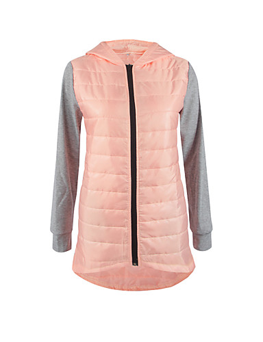 Dames Kleurenblok Lang Gewatteerd Jas-Uitgaan Eenvoudig / Street chic Polyester Polyester Capuchon Lange mouw Blauw / Roze