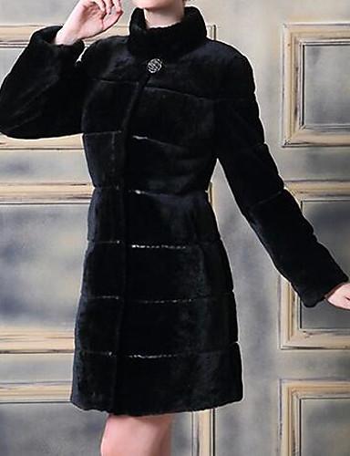 女性 カジュアル/普段着 冬 ソリッド コート,シンプル ホワイト / ブラック フェイクファー 長袖 ミディアム