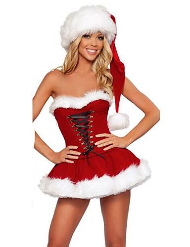 b6ee2a817 Mrs.Claus Ropa de Fiesta Santa vestir Mujer Detalles en Piel Navidad  Halloween Carnaval Festival   Celebración Pana Rojo Traje carnaval Retazos
