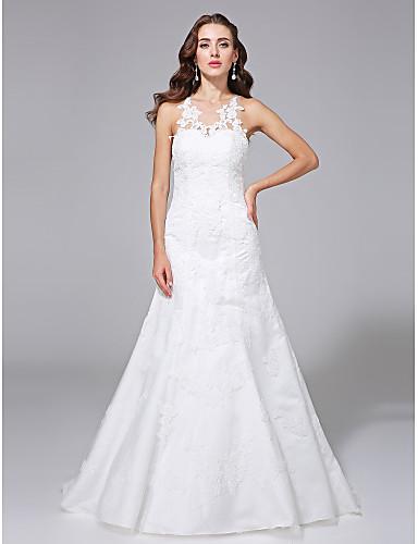 A-Linie Illusionsausschnitt Pinsel Schleppe Spitze Satin Hochzeitskleid mit Applikationen Knopf durch LAN TING BRIDE®