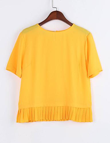 Kortærmet Rund hals Medium Damer Ensfarvet Sommer Sexet Afslappet/Hverdag T-shirt,Polyester
