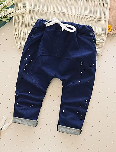 Para Meninos Calças Casual Cor Única Primavera Outono Algodão